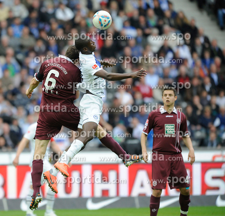 21.04.2012, Olympiastadion, Berlin, GER, 1. FBL, Hertha BSC Berlin vs 1. FC Kaiserslautern, 32. Spieltag, im Bild Mathias ABEL (1. FC Kaiserslautern/links) im Kopfballduell mit Adrian RAMOS (Hertha BSC) // during the German Bundesliga Match, 32th Round between Hertha BSC Berlin and 1. FC Kaiserslautern at the Olympiastadium, Berlin, Germany on 2012/04/21. EXPA Pictures © 2012, PhotoCredit: EXPA/ Eibner/ Johannes Koziol..***** ATTENTION - OUT OF GER *****