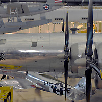 The Boeing B-29 Superfortress, this specific aircraft, the Enola Gay, dropped the first nuclear bomb on Hiroshima, Japan bringing about the end of WWII in the Pacific theater.The aircraft's name is just below the cockpit on the left of this picture.