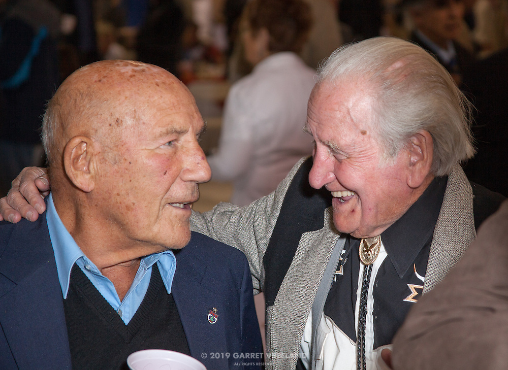 Sir Stirling Moss and Norman Dewis shre a joke, Planes and Cars at the Santa Fe Airport, 2013 Santa Fe Concorso.