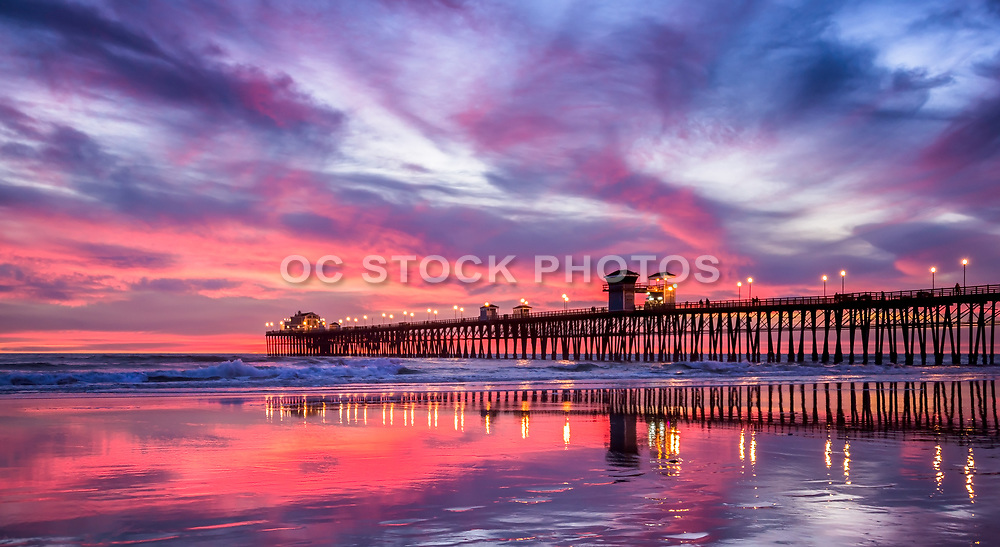 Red Moody Sunset At Oceanside Pier