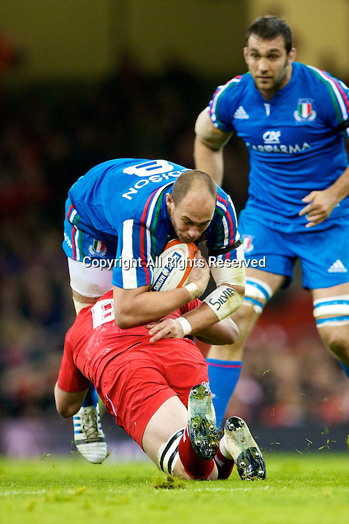 01.02.2014 Cardiff, Wales. Italy number 8 Sergio Parisse (Stade Français) and Wales number 8 Taulupe Faletau (Newport Gwent Dragons) during the Six Nations game between Wales and Italy from the Millennium Stadium.