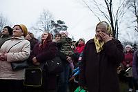 """05 APR 2012, KALWARIA ZEBRZYDOWSKA/POLAND:<br /> Eine alte Frau weint waehrend dem Passionsspiel vor der Kapelle Pjomanie.<br /> An der polnischen Wallfahrtsstaette Kalwaria Zebrzydowska kommen in der Karwoche alljaehrlich tausende von Katholiken zusammen, um als Pilger den Andachtsweg """"Pfad des Herrn Jesus"""" zu beschreiten, auf dem als Passionsspiel die Leiden Jesus Christus nachgespielt werden. Die zweitaegige Prozession fuehrt ueber einen mit vielen kleinen Kirchen und Kapellen gesaeumten Kreuzweg. <br /> IMAGE: 20120405-01-111<br /> KEYWORDS: Mysterienspiel, Passionsspiel. Pilgerstaette, Ostern, Osterprozession, Pligerstätte, Pilgerpfad, Glaeubige, Gäubige"""