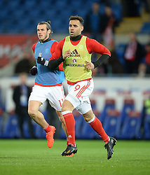 Hal Robson-Kanu of Wales warms up prior to kick off. - Mandatory by-line: Alex James/JMP - 12/11/2016 - FOOTBALL - Cardiff City Stadium - Cardiff, United Kingdom - Wales v Serbia - FIFA European World Cup Qualifiers
