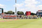 Both teams observe the national anthems during the International T20 match between South Africa and England at Supersport Park, Centurion, South Africa on 16 February 2020.