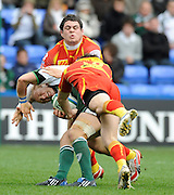 Reading, GREAT BRITAIN, Exiles, Shane GERAGHTY, is sandwiched between Perpingnans No. 10 Nichlas LAHARRAGUE and [facing] Guilhem GUIRADO, during the Heineken, Quarter Final, Cup rugby match,  London Irish vs Perpignan, at the Madejski Stadium on Sat 05.04.2008 [Photo, Peter Spurrier/Intersport-images].....Watford, GREAT BRITAIN, during the Pool 4 Rd 5  Heineken Cup game Saracens vs Biarittz at Vicarage Road, Hert's  26/04/2007  [Photo, Peter Spurrier/Intersport-images].....