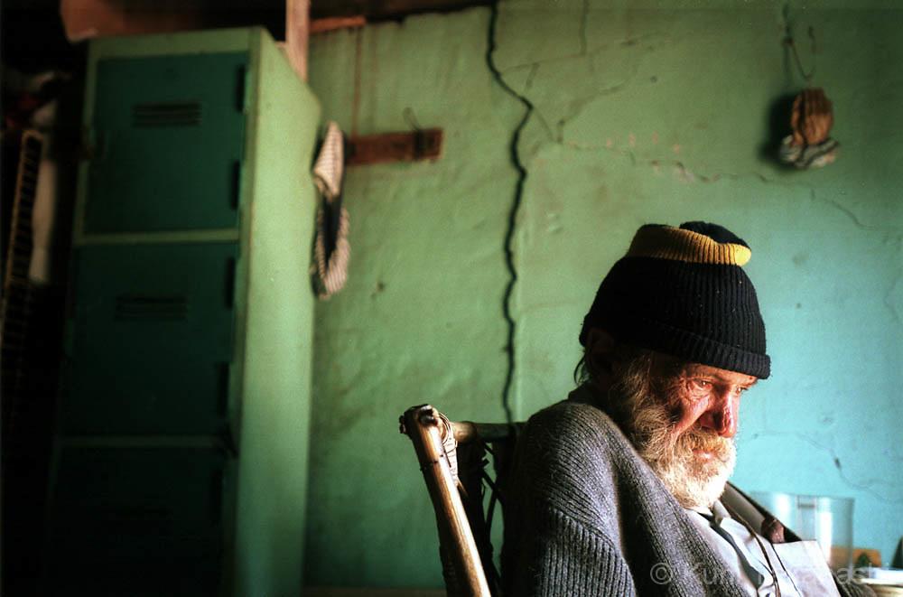 White homeless man at shelter near Johannesburg, South Africa on April 2002.
