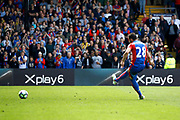 Crystal palace midfielder Luka Milivojevic takes a penalty and scores during the Premier League match between Crystal Palace and Hull City at Selhurst Park, London, England on 14 May 2017. Photo by Andy Walter.