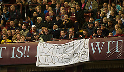 BIRMINGHAM, ENGLAND - Monday, October 5, 2009: Aston Villa's supporters display a banner reading 'Barry U [sic] Judas' as their former player Gareth Barry appears for Manchester City during the Premiership match at Villa Park. (Pic by David Rawcliffe/Propaganda)