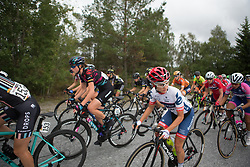Christina Perchtold (AUT) of Cervélo-Bigla Cycling Team checks the race situation behind her on Stage 1 of the Ladies Tour of Norway - a 101.5 km road race, between Halden and Mysen on August 18, 2017, in Ostfold, Norway. (Photo by Balint Hamvas/Velofocus.com)