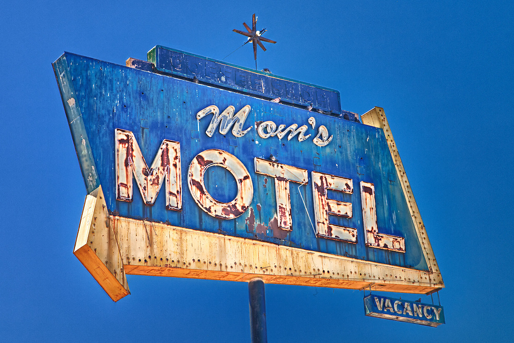 Mom's Motel Sign Southbound View - Tulare, CA - Highway 99 - HDR