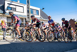 Peloton tackle Valkenberg as the helicopter circles overhead - Women's Ronde van Vlaanderen 2016. A 141km road race starting and finishing in Oudenaarde, Belgium on April 3rd 2016.