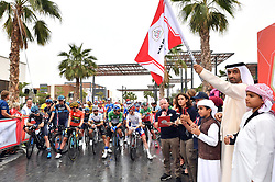March 1, 2019 - Emirati Arabi Uniti - Foto LaPresse - Massimo Paolone.1 Marzo 2019 Emirati Arabi Uniti.Sport Ciclismo.UAE Tour 2019 - Tappa 6 - da Ajman a Jebel Jais - 180 km.Nella foto: Sheikh Ahmed Bin Humaid Al-Nuaimi  e Charles Planet (Team Novo Nordisk), Primoz Roglic (Team Jumbo - Visma), Stepan Kuriyanov (Gazprom - RusVelo), David Gaudu (Groupama - FDJ)..Photo LaPresse - Massimo Paolone.March 1, 2019 United Arab Emirates.Sport Cycling.UAE Tour 2019 - Stage 6 - Ajman to Jebel Jais - 111,8 miles.In the pic: Sheikh Ahmed Bin Humaid Al-Nuaimi  and Charles Planet (Team Novo Nordisk), Primoz Roglic (Team Jumbo - Visma), VALVERDE Alejandro (ESP) MOVISTAR TEAM, Stepan Kuriyanov (Gazprom - RusVelo), David Gaudu  (Credit Image: © Massimo Paolone/Lapresse via ZUMA Press)