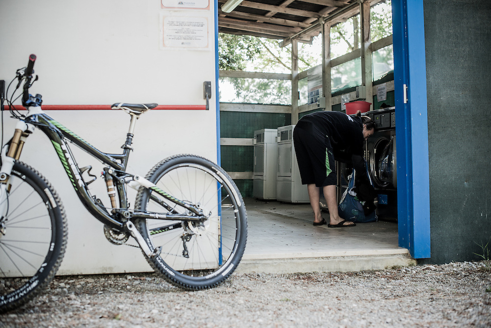 Tracy Moseley. Life on the road as a pro-racer. Punta Ala, Italy.