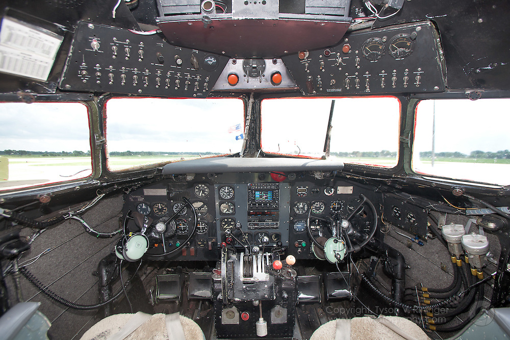 "A view of the instrument panel inside the second oldest DC-3 still flying. ""Herpa Models"" N143D is routinely used to certify new or recurring DC-3 pilots."