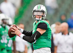 Oct 24, 2015; Huntington, WV, USA; Marshall Thundering Herd quarterback Chase Litton warms up before the game against the North Texas Mean Green at Joan C. Edwards Stadium. Mandatory Credit: Ben Queen-USA TODAY Sports