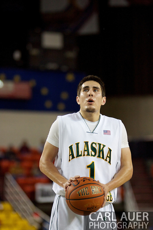 November 25th, 2010:  Anchorage, Alaska - University of Alaska-Anchorage guard Drew Robinson (1) shoots a free throw in the Seawolves 54-86 loss to Weber State in the first round of the Great Alaska Shootout.