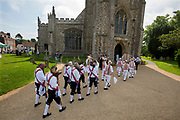 Thaxted Morris Weekend, Thaxted Essex England UK. 2-3 June 2018<br /> The 85th Meeting of the Member Clubs of the Morris Ring hosted by Thaxted Morris Men (who wear red and white stripes) who lead the annual Sunday Morning Procession to Thaxted Church after a busy Saturday of dancing in a dozen local pubs in surrounding villages in North West Essex.