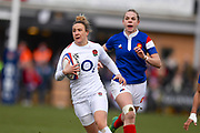 England player Sarah McKenna finds space and goes over the try line only to have it called back by a penalty in the first half during the Women's 6 Nations match between England Women and France Women at the Keepmoat Stadium, Doncaster, England on 10 February 2019.