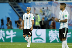 (l-r) Javier Mascherano of Argentina, Ever Banega of Argentina during the 2018 FIFA World Cup Russia group  D match between Nigeria and Argentina at the Saint Petersburg Stadium on June 26, 2018 in Saint Petersburg, Russia
