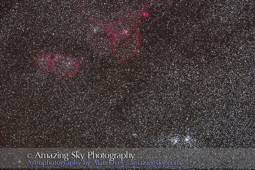Double Cluster and IC nebulas in Perseus. Includes IC 1805 and IC 1848, NGC 896 nebula; NGC 957 cluster left of Double Cluster. Taken Sept. 14, 2007 for stack of 4 x 4 minute exposures with 135mm L-series lens at f/2.8 and Canon 20Da camera at ISO 800.