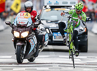 Slovakian Peter Sagan of Liquigas-Cannondale celebrates after winning the UCI World Tour Gent-Wevelgem  cycling race in Wevelgem, Belgium, 24 March 2013.