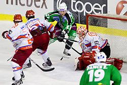 Tomi Mustonen of Tilia Olimpija vs Jaakko Suomalainen during ice-hockey match between HD Tilia Olimpija and HK Acroni Jesenice  in 6th Round of EBEL league, on September 26, 2010 at Hala Tivoli, Ljubljana, Slovenia. (Photo By Vid Ponikvar / Sportida.com)