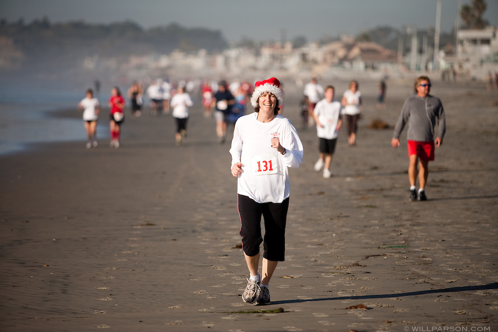 A runner participates in the Red Nose Run.