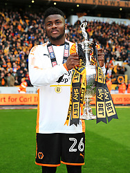 Free to use courtesy of Sky Bet - Bright Enobakhare of Wolverhampton Wanderers celebrate after lifting the Sky Bet Championship 2017/18 league trophy - Mandatory by-line: Matt McNulty/JMP - 28/04/2018 - FOOTBALL - Molineux - Wolverhampton, England - Wolverhampton Wanderers v Sheffield Wednesday - Sky Bet Championship