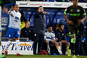 Micky Mellon Manager of Tranmere Rovers during the EFL Sky Bet League 2 play off first leg match between Tranmere Rovers and Forest Green Rovers at Prenton Park, Birkenhead, England on 10 May 2019.