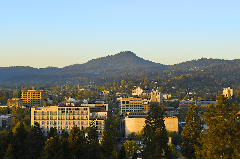 Eugene, Oregon, from top of Skinner Butte looking across downtown to Spencer Butte.
