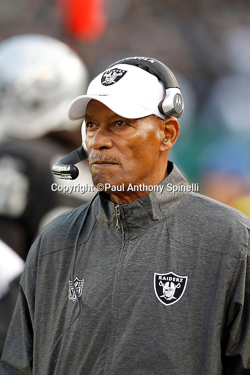 Oakland Raiders squad development coach Willie Brown looks on during the NFL week 15 football game against the Detroit Lions on Sunday, December 18, 2011 in Oakland, California. The Lions won the game 28-27. ©Paul Anthony Spinelli