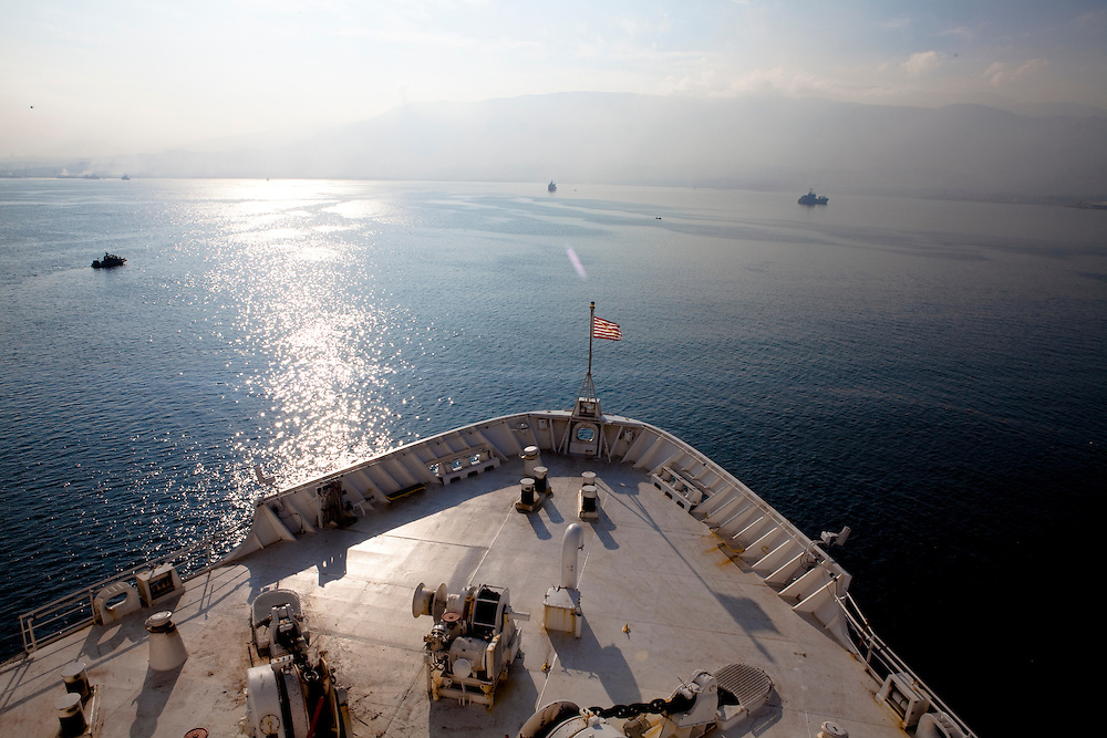 The USNS Comfort, a naval hospital ship, arrives in the waters off Port-au-Prince, Haiti on Wednesday, January 20, 2010. The Comfort deployed from Baltimore, bringing nearly a thousand medical personnel to care for victims of Haiti's recent earthquake.