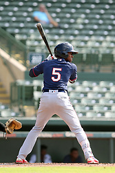 July 17, 2018 - Sarasota, FL, U.S. - Sarasota, FL - JUL 17: Agustin Marte (5) of the Twins at bat during the Gulf Coast League (GCL) game between the GCL Twins and the GCL Orioles on July 17, 2018, at Ed Smith Stadium in Sarasota, FL. (Photo by Cliff Welch/Icon Sportswire) (Credit Image: © Cliff Welch/Icon SMI via ZUMA Press)