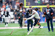 Eddy Pineiro (K) of the Chicago Bears practices a field goal during the International Series match between Oakland Raiders and Chicago Bears at Tottenham Hotspur Stadium, London, United Kingdom on 6 October 2019.
