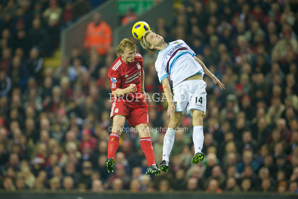 LIVERPOOL, ENGLAND - Saturday, November 20, 2010: Liverpool's Dirk Kuyt and West Ham United's Radoslav Kovac during the Premiership match at Anfield. (Photo by: David Rawcliffe/Propaganda)