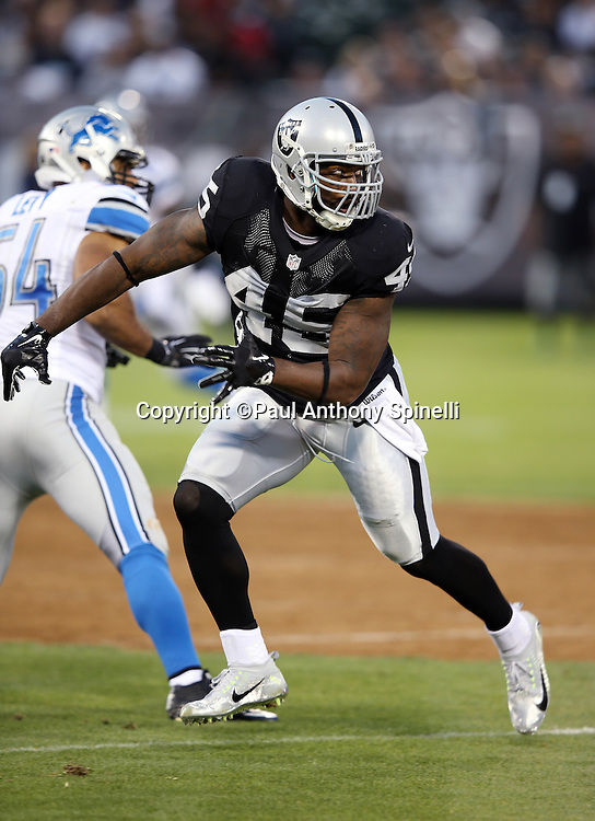 Oakland Raiders fullback Marcel Reece (45) goes out for a pass during the 2014 NFL preseason football game against the Detroit Lions on Friday, Aug. 15, 2014 in Oakland, Calif. The Raiders won the game 27-26. ©Paul Anthony Spinelli