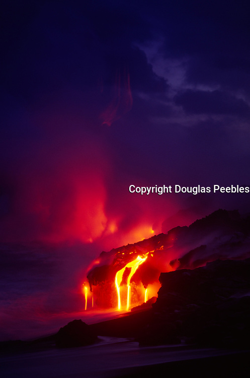 Lava into ocean, Kilauea Volcano, HVNP, Island of Hawaii<br />