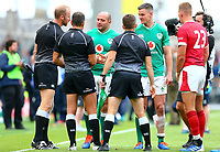 Rugby Union - 2019 pre-Rugby World Cup warm-up (Guinness Summer Series) - Ireland vs. Wales<br /> <br /> Rory Best (c) (Ireland) thanks match referee, Mathieu Raynal, referee assistant, Wayne Barnes, and referee assistant, Luke Pearce,  at The Aviva Stadium.<br /> <br /> COLORSPORT/KEN SUTTON