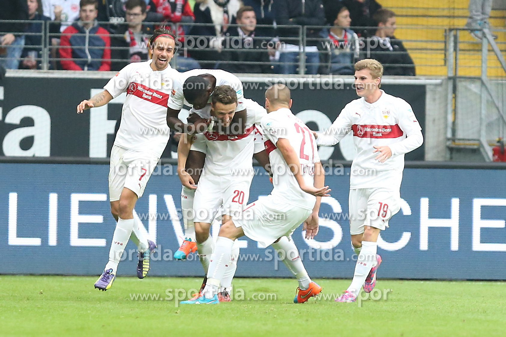 25.10.2014, Commerzbank Arena, Frankfurt, GER, 1. FBL, Eintracht Frankfurt vs VfB Stuttgart, 9. Runde, im Bild Die Stuttgarter feiern den Siegtreffer durch Christian Gentner (Stuttgart) mit Martin Harnik (Stuttgart), Antonio Ruediger (stuttgart), Adam Hlousek (Stuttgart) und Timo Werner (Stuttgart) // during the German Bundesliga 9th round match between Eintracht Frankfurt vs VfB Stuttgart at the Commerzbank Arena in Frankfurt, Germany on 2014/10/25. EXPA Pictures &copy; 2014, PhotoCredit: EXPA/ Eibner-Pressefoto/ Roskaritz<br /> <br /> *****ATTENTION - OUT of GER*****