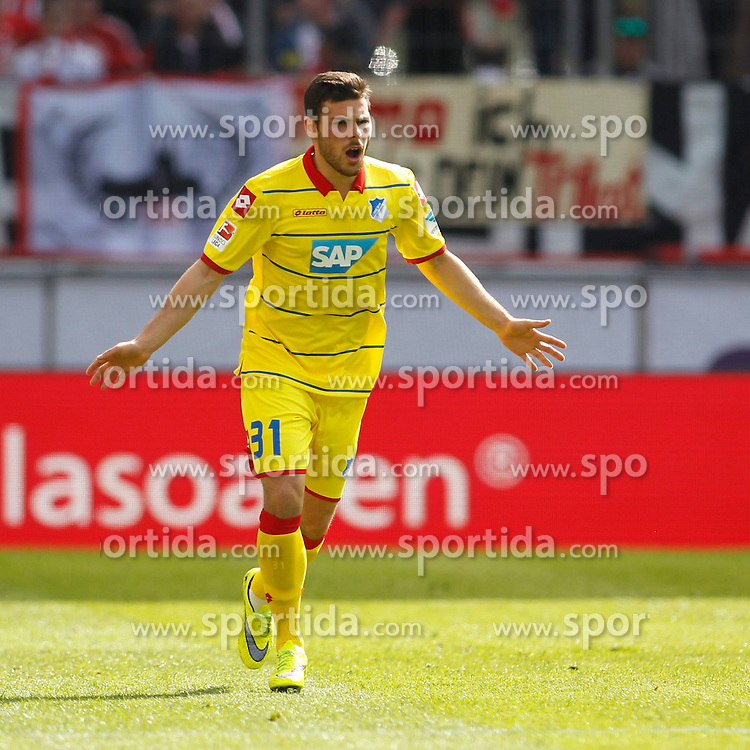 12.04.2015, RheinEnergieStadion, K&ouml;ln, GER, 1. FBL, 1. FC K&ouml;ln vs TSG 1899 Hoffenheim, 28. Runde, im Bild Kevin Volland (TSG 1899 Hoffenheim #31) // during the German Bundesliga 28th round match between 1. FC Cologne and TSG 1899 Hoffenheim at the RheinEnergieStadion in K&ouml;ln, Germany on 2015/04/12. EXPA Pictures &copy; 2015, PhotoCredit: EXPA/ Eibner-Pressefoto/ Sch&uuml;ler<br /> <br /> *****ATTENTION - OUT of GER*****