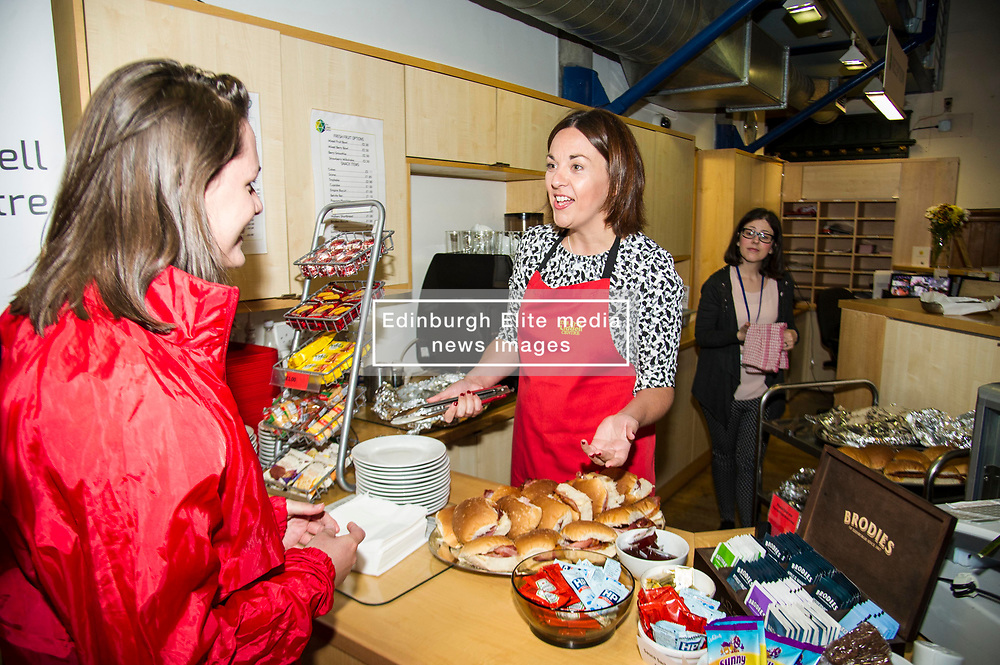 Pictured: <br /> <br /> Scottish Labour leader Kezia Dugdale was joined by Edinburgh South candidate Ian Murray and former Chancellor Alistair Darling.as she served breakfast rolls for Edinburgh based activists before taking on Nicola Sturgeon at First Minister's Questions. <br /> <br /> Ger Harley | EEm 7 June  2017