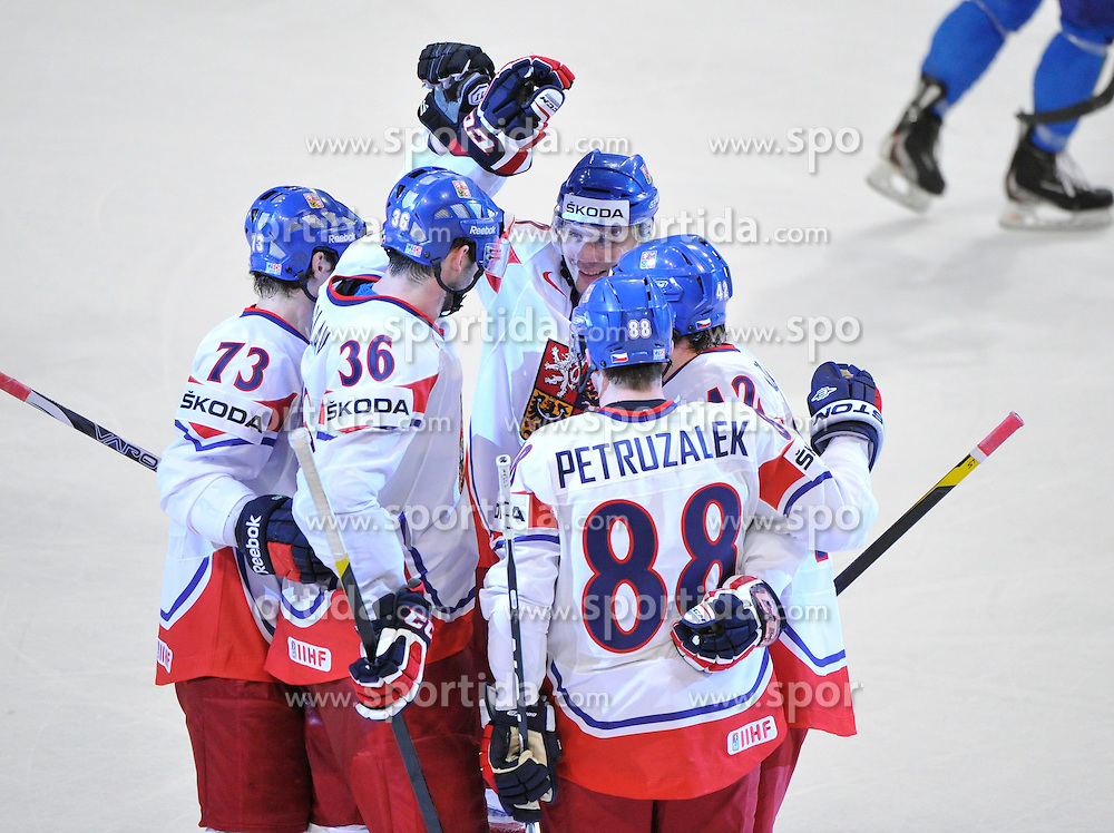 11.05.2012, Ericsson Globe, Stockholm, SWE, IIHF, Eishockey WM, Italien vs Tschechische Republik, im Bild Czech Republic 36 Petr Caslava (CSKA Moskva) goal celebrating // during the IIHF Icehockey World Championship Game between Italy and Czech Republic at the Ericsson Globe, Stockholm, Sweden on 2012/05/11. EXPA Pictures © 2012, PhotoCredit: EXPA/ PicAgency Skycam/ ATTENTION - OUT OF SWE *****