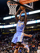 Nov. 12, 2012; Phoenix, AZ, USA; Denver Nuggets forward Kenneth Faried (35) dunks the ball against the Phoenix Suns during the first half at US Airways Center. Mandatory Credit: Jennifer Stewart-US PRESSWIRE.