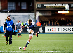 Gareth Anscombe of Cardiff Blues converts<br /> <br /> Photographer Simon King/Replay Images<br /> <br /> European Rugby Champions Cup Round 4 - Cardiff Blues v Saracens - Saturday 15th December 2018 - Cardiff Arms Park - Cardiff<br /> <br /> World Copyright © Replay Images . All rights reserved. info@replayimages.co.uk - http://replayimages.co.uk