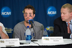 26 May 2007: Duke Blue Devils goalkeeper Dan Loftus (4) talks with media in a press conference after a 12-11 win over the Cornell Big Red in the NCAA Semifinals at M&T Bank Stadium in Baltimore, MD.