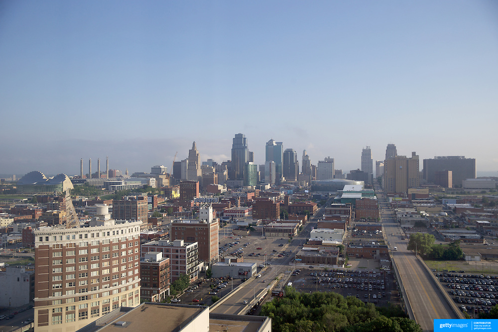 A panoramic view of Kansas City, Missouri, USA.<br /> Kansas City, or K.C., is the largest city in the state of Missouri. It is the 37th–largest city by population in the United States and the 23rd–largest by area. Kansas City, Missouri, USA.10th August 2015. Photo Tim Clayton