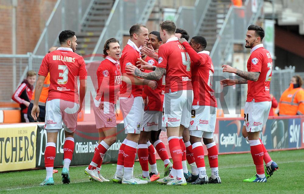 Bristol City players celebrate Bristol City captain Aaron Wilbraham's opening goal against Rochdale - Photo mandatory by-line: Paul Knight/JMP - Mobile: 07966 386802 - 28/02/2015 - SPORT - Football - Bristol - Ashton Gate Stadium - Bristol City v Rochdale - Sky Bet League One