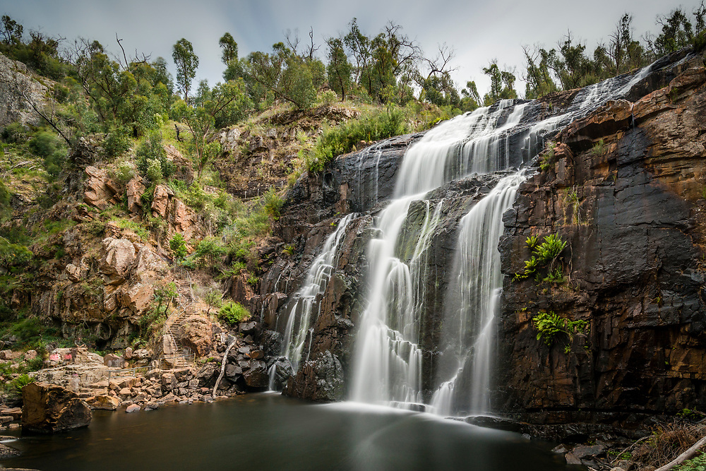 Long exposure of McKenzie Falls in the Grampian Mountains of Victoria, Australia
