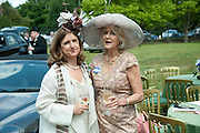 LIZ BREWER ADN HER SISTER, Lunch part hosted by Liz Brewer and Mrs. George Piskova in No; 1 car-park. . Royal Ascot. Tuesday. 14 June 2011. <br /> <br />  , -DO NOT ARCHIVE-© Copyright Photograph by Dafydd Jones. 248 Clapham Rd. London SW9 0PZ. Tel 0207 820 0771. www.dafjones.com.