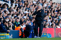 Hull City Manager Steve Bruce looks dejected - Photo mandatory by-line: Rogan Thomson/JMP - 07966 386802 - 16/05/2015 - SPORT - FOOTBALL - London, England - White Hart Lane - Tottenham Hotspur v Hull City - Barclays Premier League.